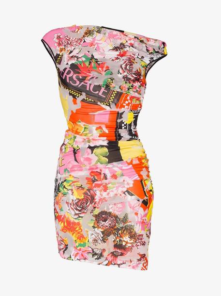 Versace floralmania print draped mini dress