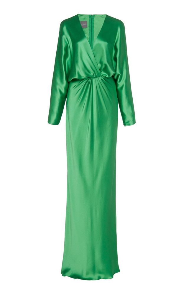 Monique Lhuillier Dolman-Sleeve Crepe Gown Size: 8 in green