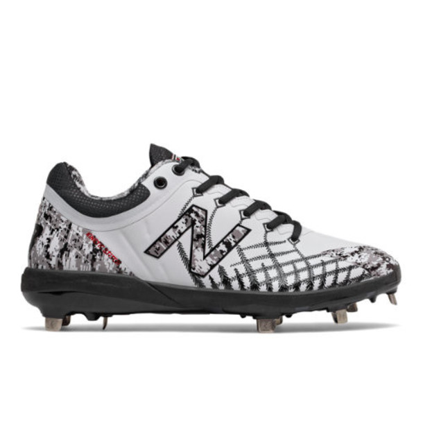 New Balance 4040v5 Pedroia Metal Men's Cleats and Turf Shoes - White/Black/Red (L4040PW5)