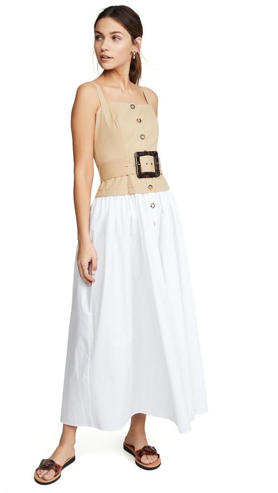 STAUD Marina Dress in sand / white