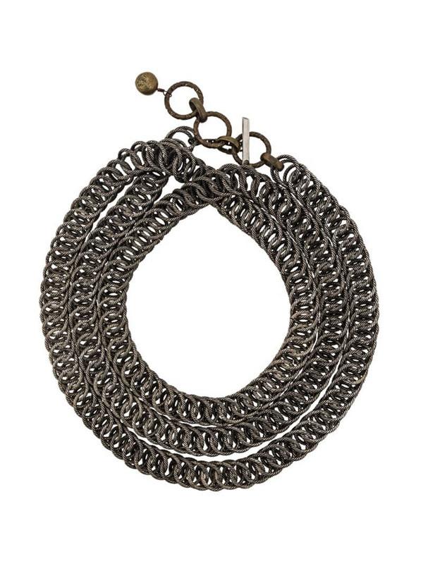 LANVIN textured chain necklace in metallic