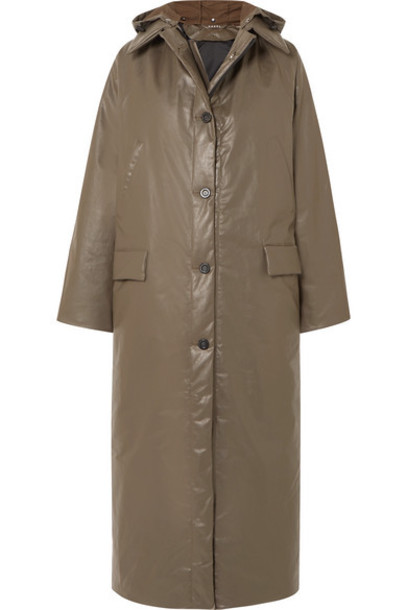 Kassl Editions - Oil Hooded Coated Cotton-blend Coat - Army green