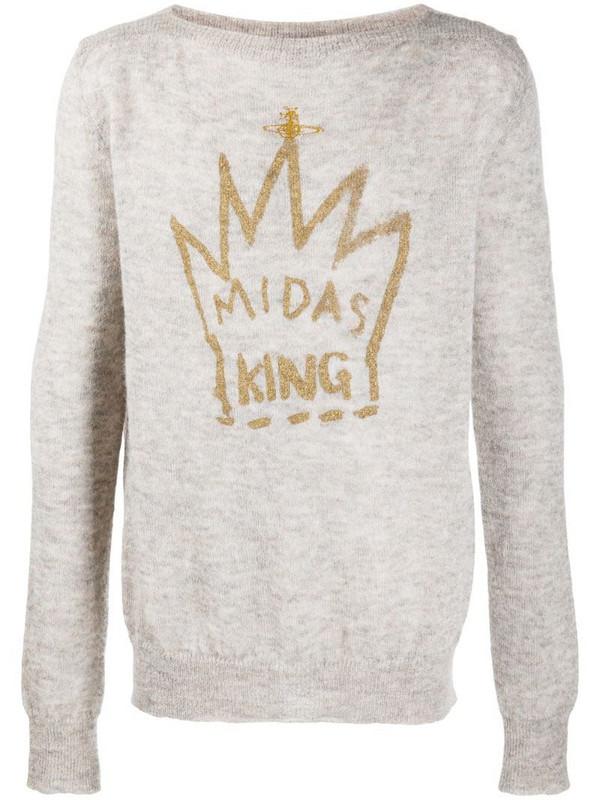 Vivienne Westwood crown graphic print jumper in neutrals