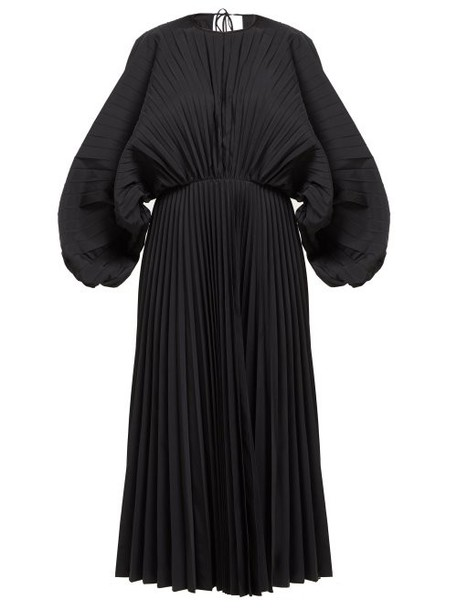 Valentino - Pleated Cotton Twill Dress - Womens - Black
