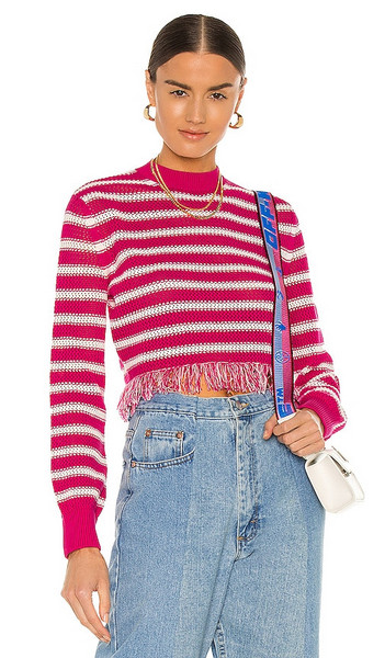 MSGM Striped Crochet Sweater in Fuchsia in pink