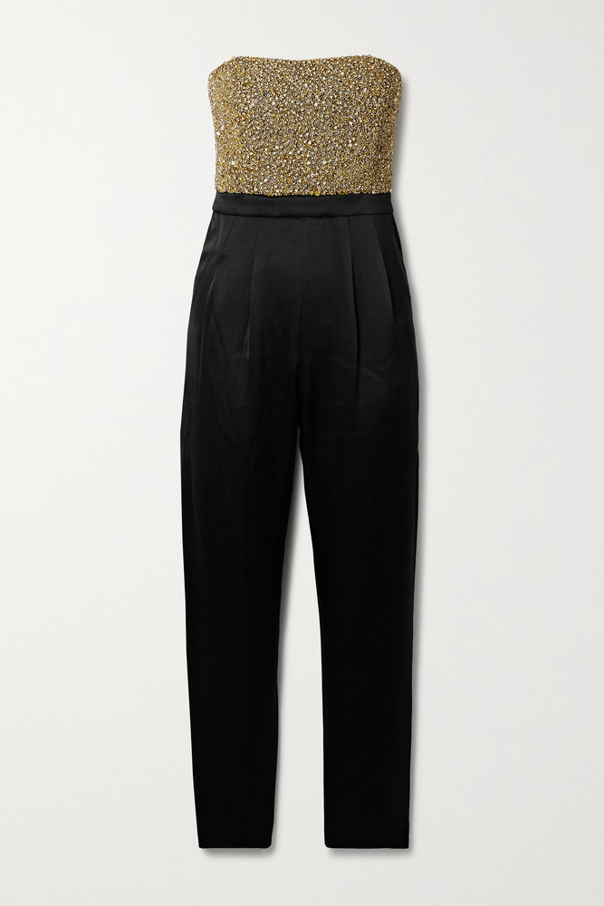 ALICE + OLIVIA ALICE + OLIVIA - Jeri Strapless Embellished Duchesse-satin Jumpsuit - Black