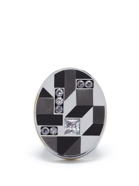 Bottega Veneta - Cube Oval Ring - Womens - Silver
