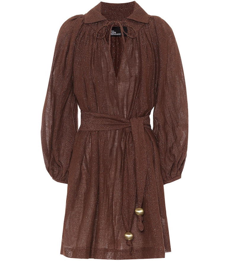 Lisa Marie Fernandez Metallic linen-blend minidress in brown