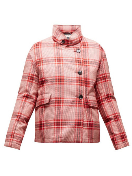 Marni - Checked Padded Jacket - Womens - Pink Multi