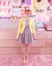 scathingly brilliant,blogger,dress,sweater,shoes,cardigan,yellow cardigan