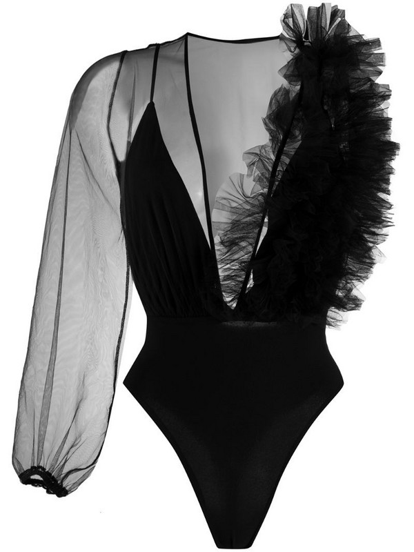 Alchemy asymmetric sheer bodysuit in black