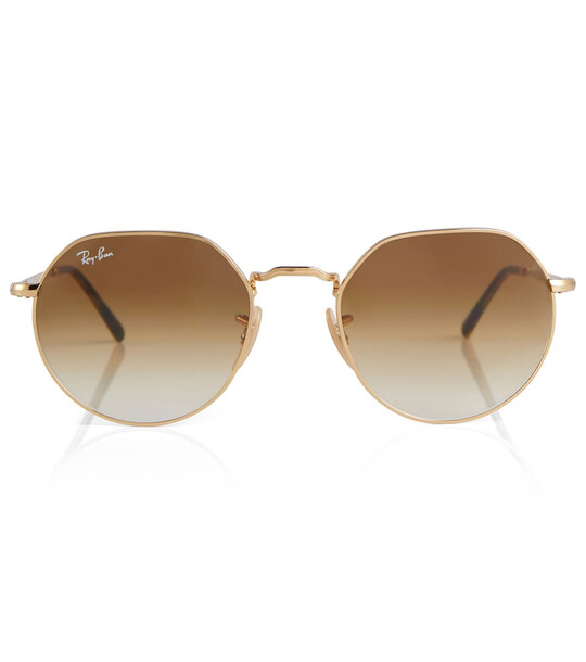 Ray-Ban RB3565 hexagonal metal sunglasses in gold
