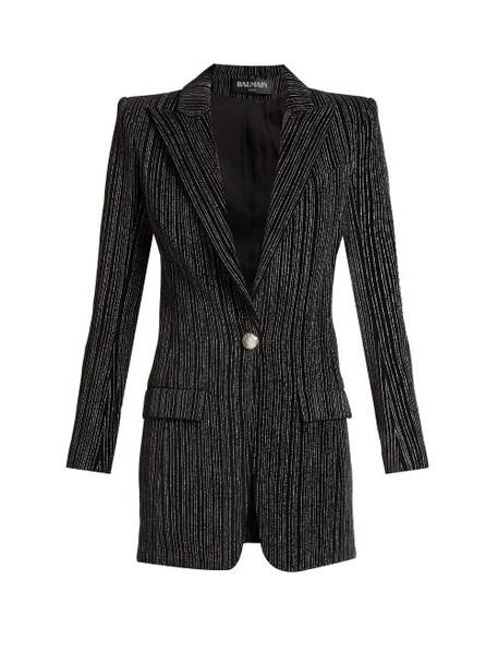 Balmain - Striped Single Breasted Velvet Blazer - Womens - Black Silver