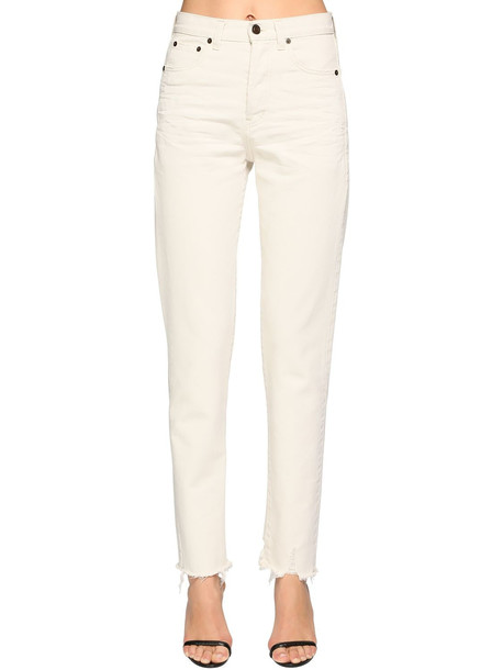 SAINT LAURENT Cotton Denim Straight Jeans in white
