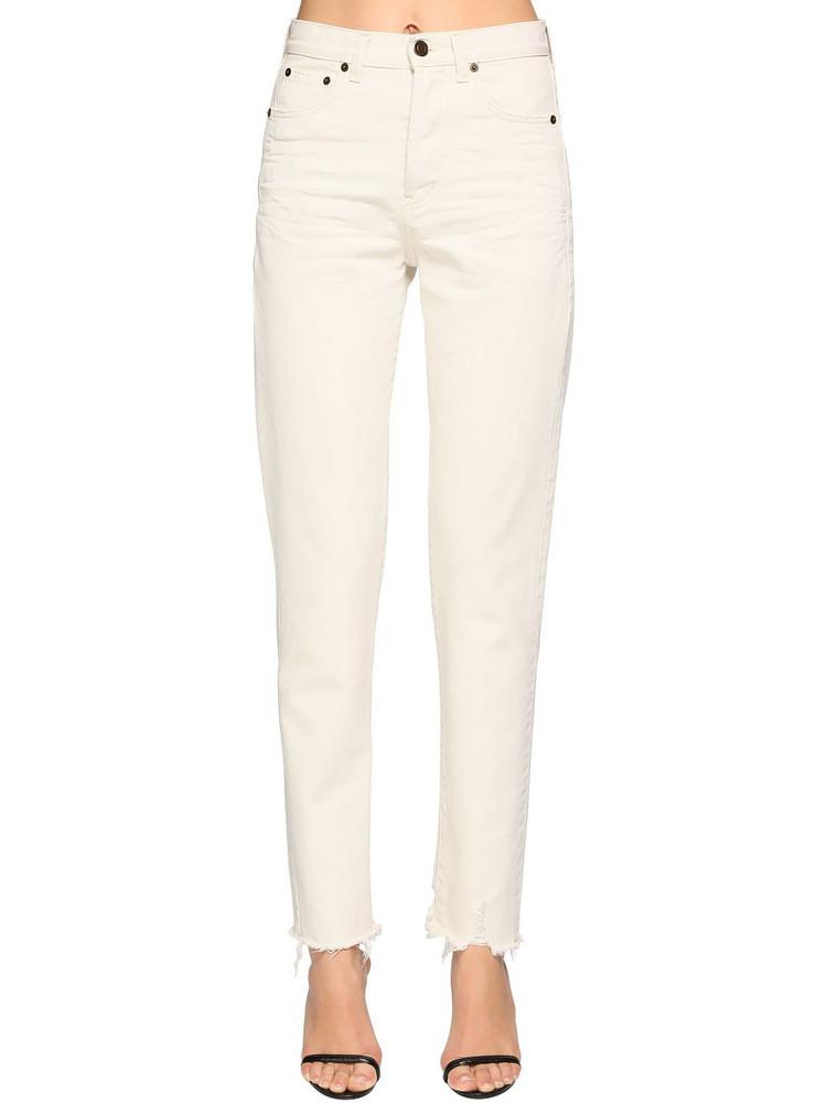 SAINT LAURENT Cotton Denim Straight Jeans in white