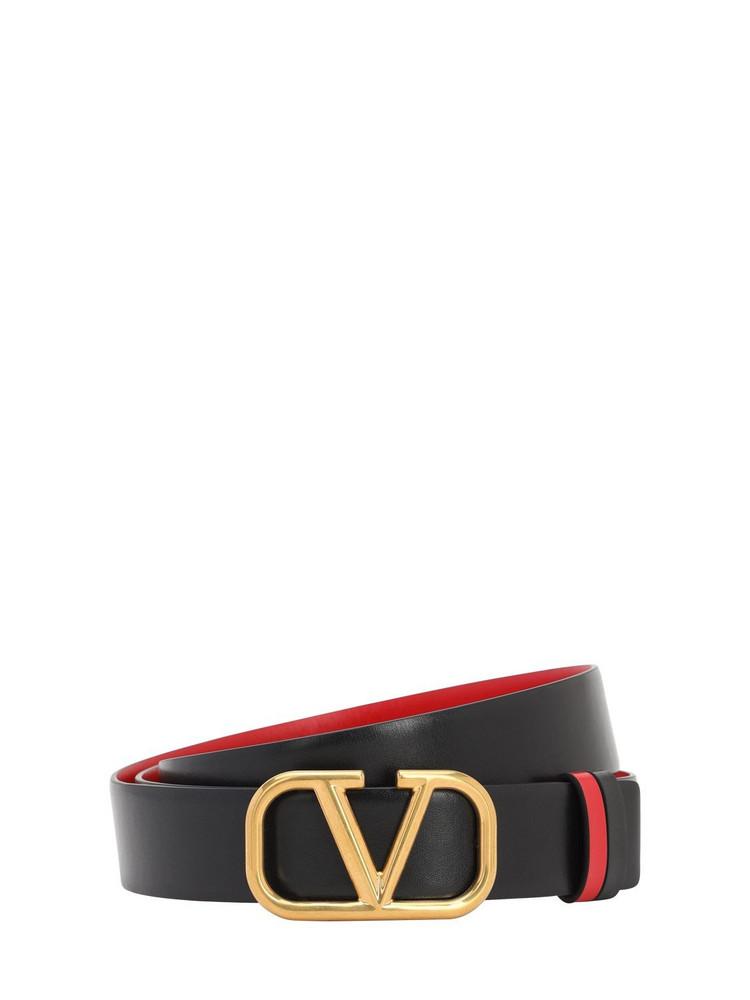 VALENTINO 30mm Reversible Vlogo Leather Belt in black / red
