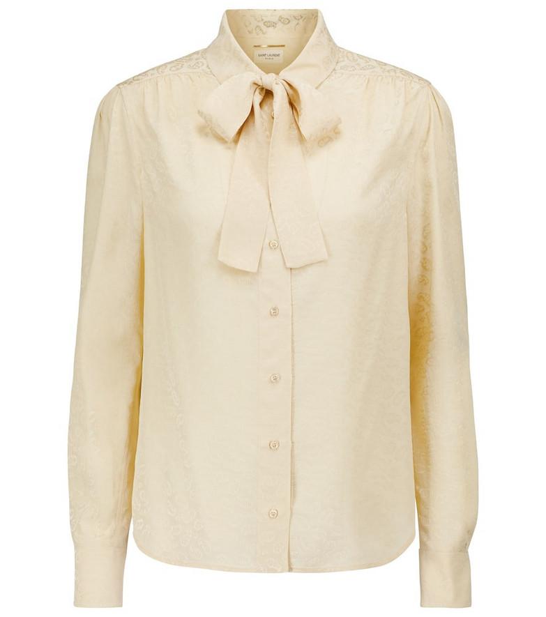Saint Laurent Long-sleeved silk blouse in yellow