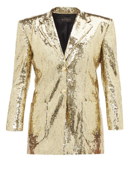 Dundas - Sequinned Single Breasted Blazer - Womens - Gold