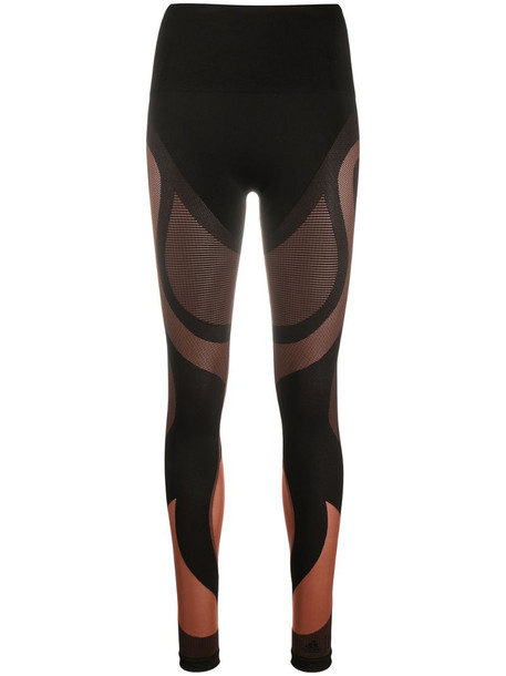 Wolford x adidas Motion panelled mid-rise leggings in brown