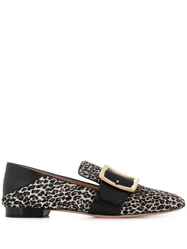 Bally leopard print loafers in black