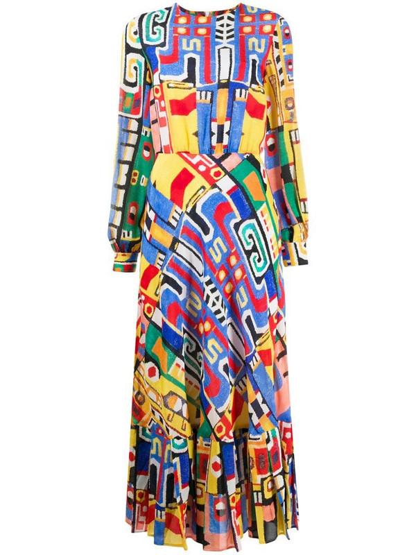 Stella Jean abstract print pleat dress in yellow