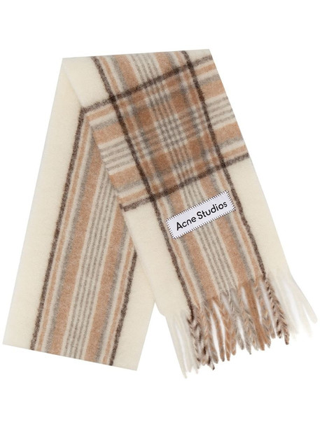 Acne Studios check print fringed scarf in neutrals