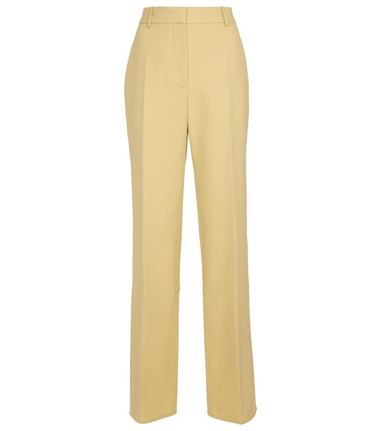 Victoria Beckham High-rise straight wool pants in yellow