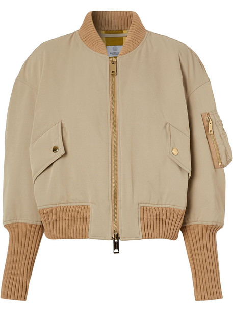 Burberry two-tone zip-up bomber jacket - Neutrals