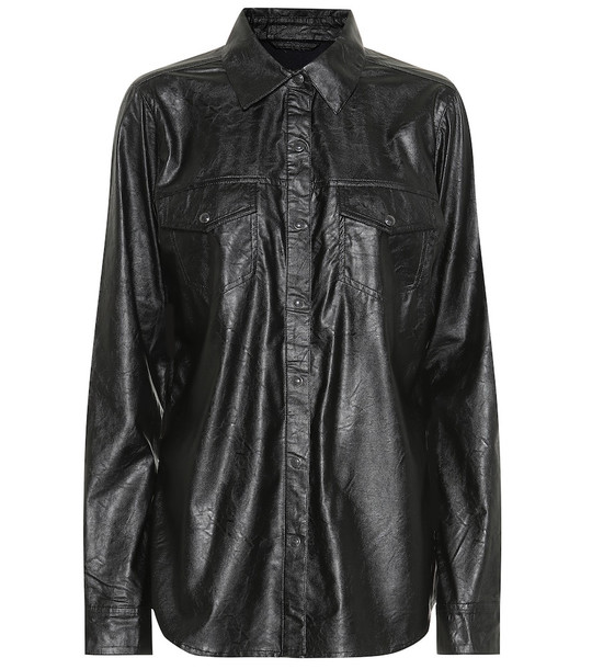 J Brand Perfect faux leather shirt in black