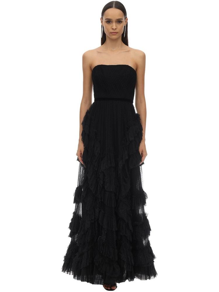 MARCHESA NOTTE Long Draped & Ruffles Tulle Dress W/lace in black