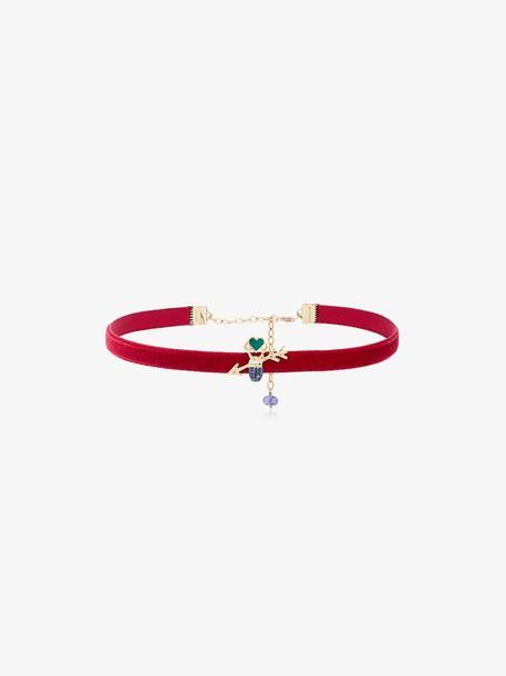 Daniela Villegas Velvet Love Arrow Choker in red