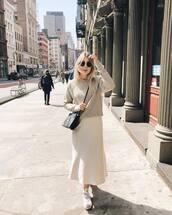 skirt,midi skirt,satin,converse,black bag,grey sweater