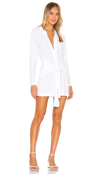 Norma Kamali Tie Front NK Shirt Romper in White