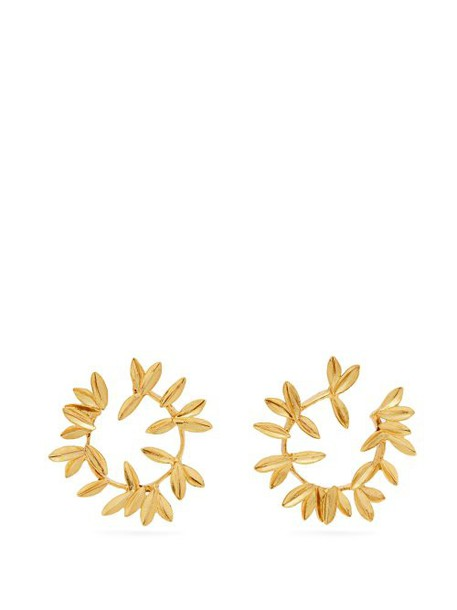 Oscar De La Renta - Dot Leaf Hoop Earrings - Womens - Gold