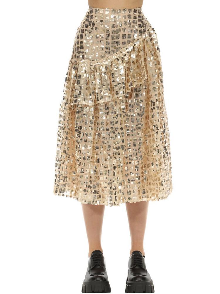 SIMONE ROCHA Sequined Grid Ruffle Midi Skirt in gold