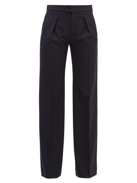 Chloé Chloé - Pleated Wide-leg Wool-blend Trousers - Womens - Navy