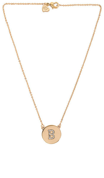 Frasier Sterling Initial Coin Necklace in Metallic Gold in clear