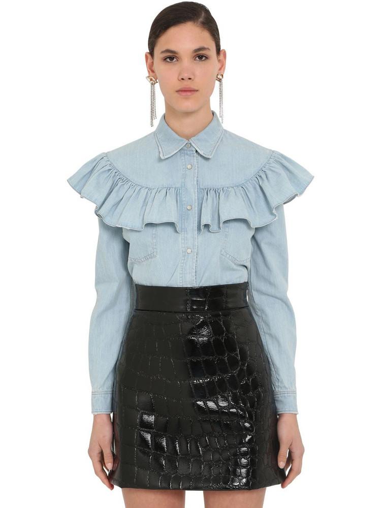 MIU MIU Cotton Denim Shirt W/ruffles in blue