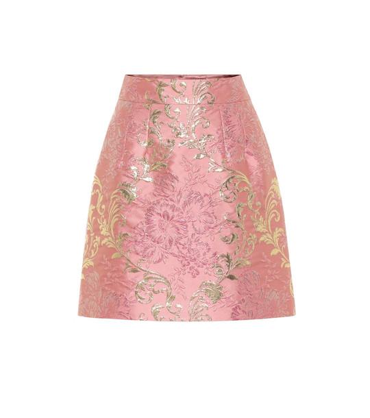 Dolce & Gabbana Brocade lamé miniskirt in pink