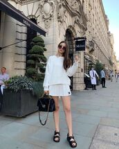 shorts,white skirt,mini skirt,pleated skirt,black sandals,white sweater
