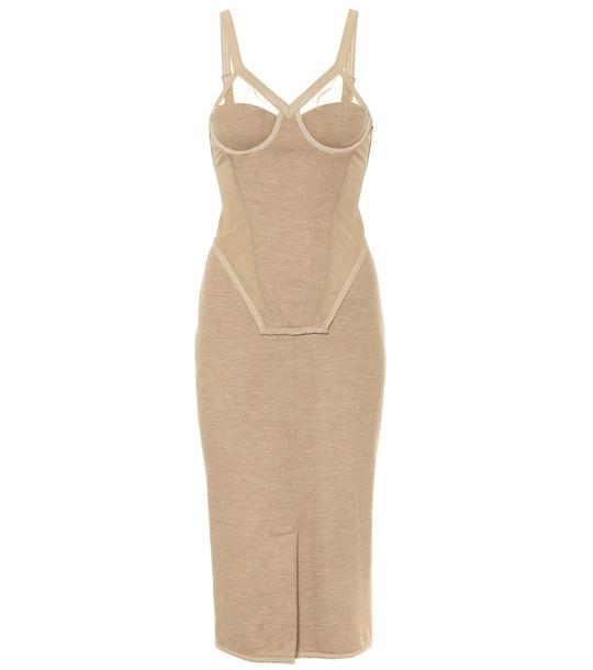 Burberry Cashmere-blend corset midi dress in beige