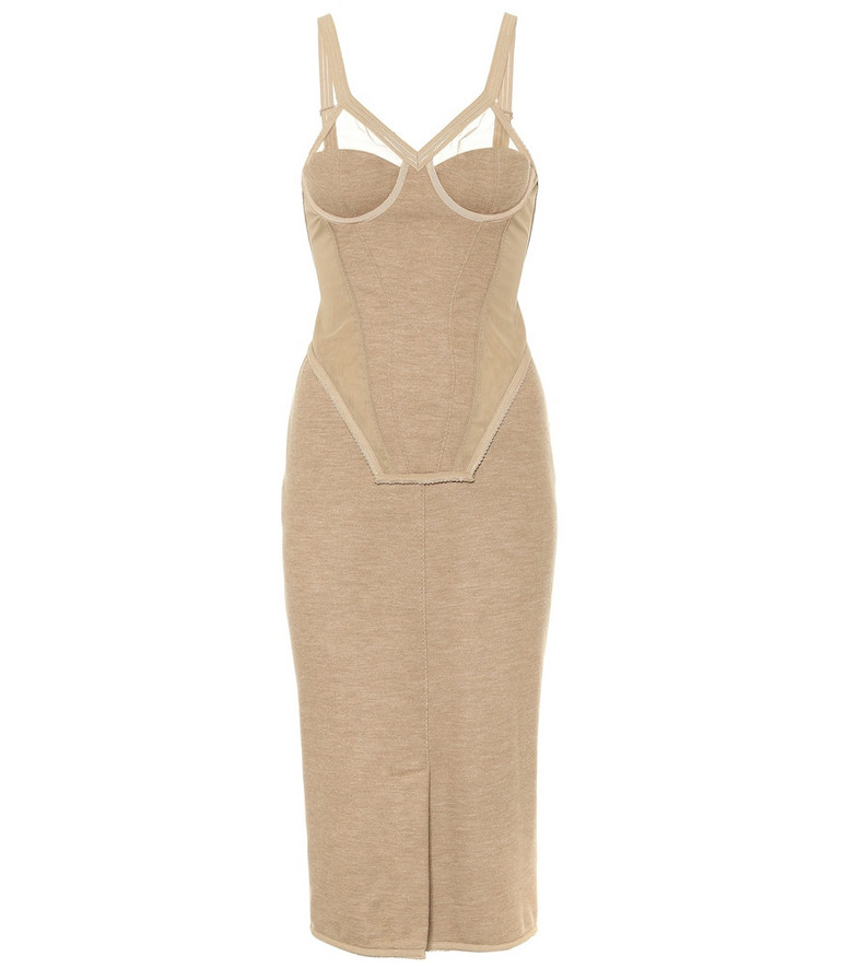 Burberry Cashmere-blend corset midi dress in beige