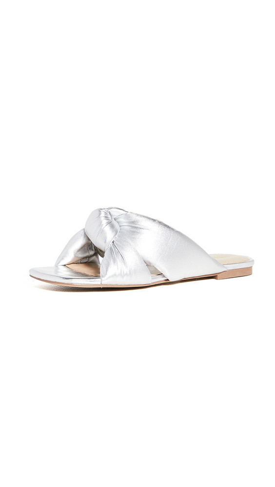 Villa Rouge Maddox Puffy Ruched Sandals in metallic / silver
