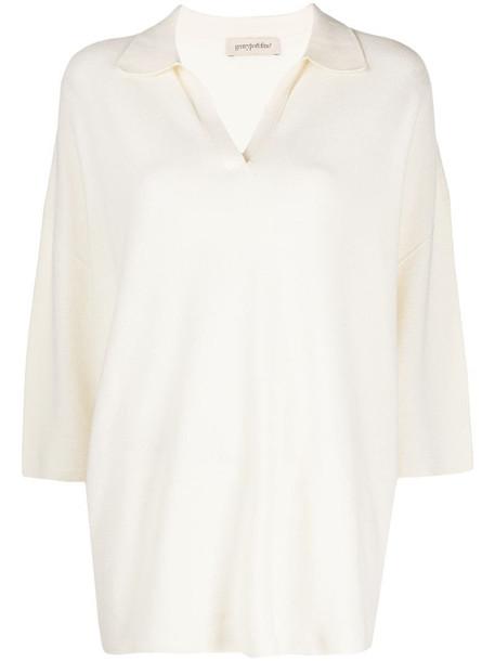 Gentry Portofino polo collar knitted top in white