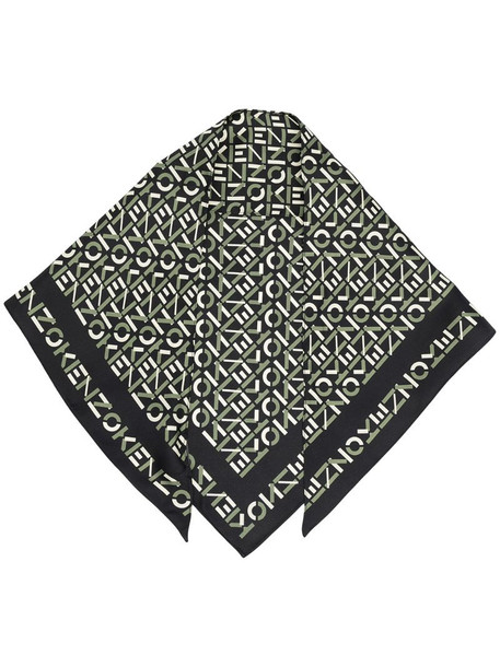 Kenzo logo-print silk scarf in black