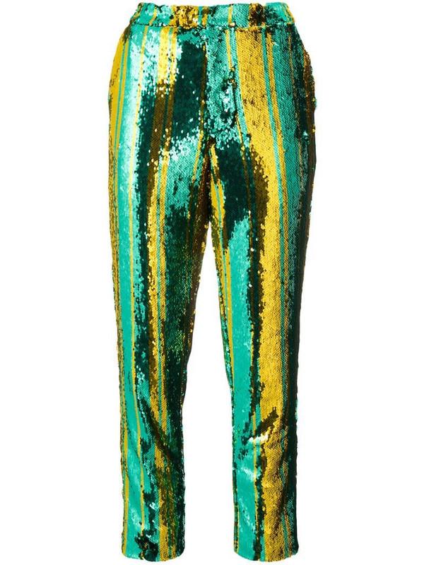 Halpern sequin embellished trousers in green