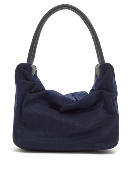 Staud - Felix Gathered Mesh And Leather Shoulder Bag - Womens - Navy Multi