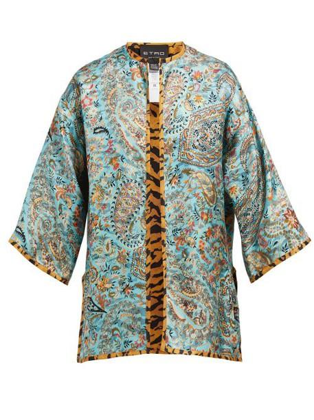 Etro - Paisley Print Silk Satin Twill Jacket - Womens - Blue Multi