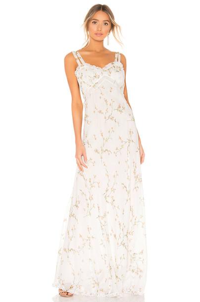 Divine Heritage Velvet Trim Maxi Dress in white