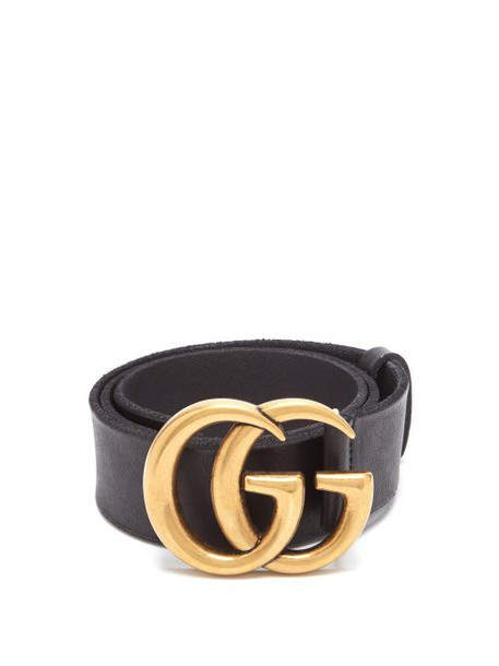 Gucci - Gg Logo Leather Belt - Womens - Black